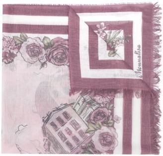 MonnaLisa Floral Print Frayed Edge Scarf
