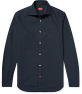 Isaia Slim-fit Pin-dot Cotton-poplin Shirt - Midnight blue