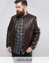 Asos PLUS Leather Biker Jacket in Brown