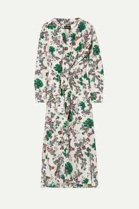 Isabel Marant Calypso Floral-print Silk-blend Crepe De Chine Wrap Dress - Ecru