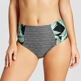 Xhilaration Women's High Waist Bikini Bottom - Tropical Stripe