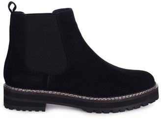 Linzi HAMPTON - Black Rough Suede Classic Chelsea Boot With White Stitching