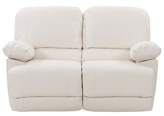 """Red Barrel Studio Condron Reclining 59"""" Pillow top Arm Loveseat Fabric: Faux Leather White"""