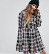 Reclaimed Vintage Frill Front Dress In Check