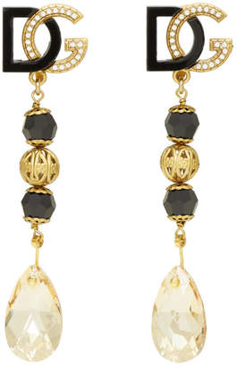 Dolce & Gabbana Black and Gold Drop Earrings