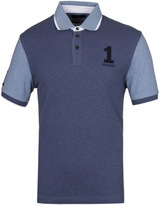 Hackett Marl Contrast Blue Short Sleeve Polo Shirt