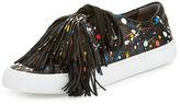 Loeffler Randall Logan Splatter-Print Tassel Sneaker