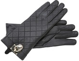 MICHAEL Michael Kors Michael Kors Quilted Leather Glove With Mk Padlock (Black) - Accessories