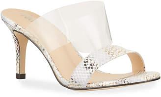Neiman Marcus Metallic Snake-Print Mule Sandals