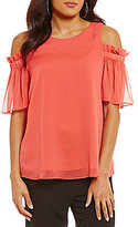 Gibson & Latimer Gibson and Latimer Solid Cold Shoulder Blouse
