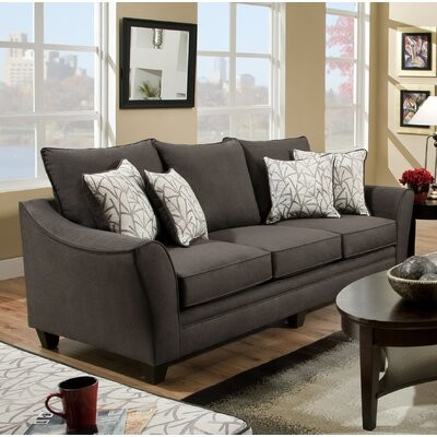 """Thumbnail for your product : Winston Porter Nolhan 96"""" Flared Arm Sofa Bed with Reversible Cushions Upholstery Color: Flannel Seal, Mattress Type: Memory Foam Mattress"""