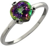 Gem Stone King 1.55 Ct Heart Shape Green Mystic Topaz and Diamond 14k White Gold Ring