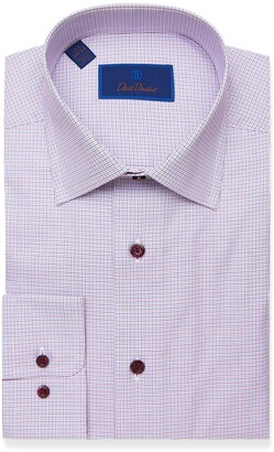 David Donahue Regular Fit Microcheck Dress Shirt