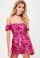 Missguided Pink Oriental Print Playsuit, Pink