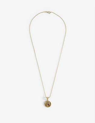Hermina Athens Athena yellow gold-plated sterling silver coin pendant