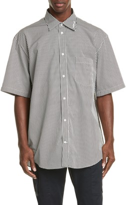 Balenciaga Normal Fit Stripe Short Sleeve Button-Up Shirt