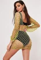 Missguided Lime Crochet Beaded Micro Mini Dress