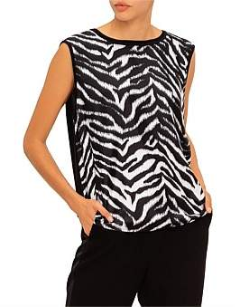 St. John Fine Gauge Jersey Knit Shell W/ Silk Twill Zebra Print Front