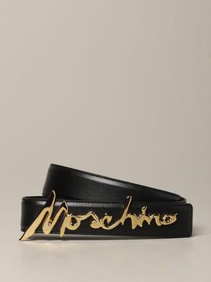 Moschino Belt Leather Belt With Metallic Logo