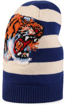 Gucci Striped wool hat with embroidered tiger