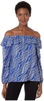 MICHAEL Michael Kors Chain Off-Shoulder Top (Twilight Blue) Women's Clothing