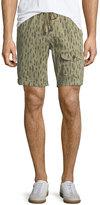 Michael Bastian Feather-Print Drawstring-Waist Shorts