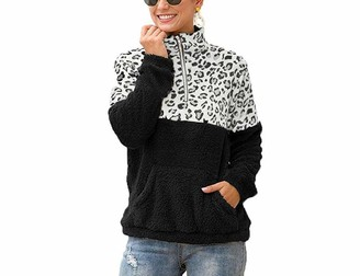 Boni Caro Women's Teddy Fuzzy Fleece Pullover Sweater Winter Warm Loose Sweatshirt Velvet Fluffy Zip Drawstring Hoodie Oversize Jumpers Outwear Coat Ladies Top Girls Hoodies Black-White Leopard 8-10