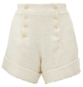 Odyssee - Marlin High-rise Cotton-blend Tweed Shorts - Womens - Ivory