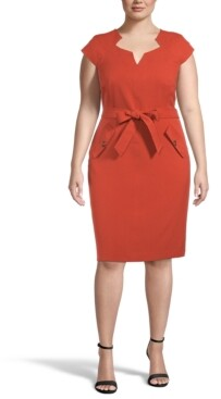 Kasper Plus Belted Sheath Dress