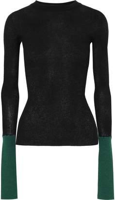 Marni Two-tone Ribbed-knit Top