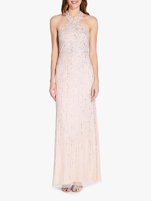 Adrianna Papell Halter Beaded Gown, Pale Nude