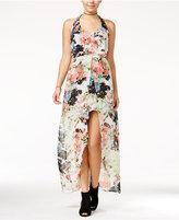 Crystal Doll Juniors' Floral-Print High-Low Maxi Dress