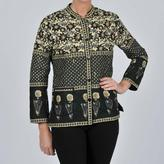 La Cera Women's Black Quilted Mandarin Collar Jacket