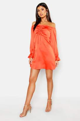 boohoo Off The Shoulder Satin Ruched Swing Dress