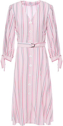 Claudie Pierlot Belted Striped Woven Dress