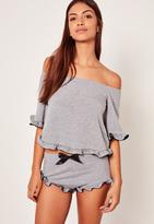 Missguided Frill Detail Bardot Pyjama Set Grey