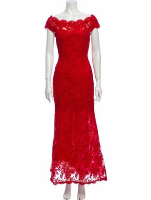 Marchesa Lace Pattern Long Dress Red