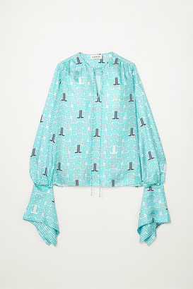 Lanvin Printed Silk-twill Blouse - Turquoise