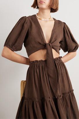 Lisa Marie Fernandez Net Sustain Pouf Tie-front Organic Linen-blend Gauze Top - Brown