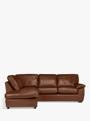 John Lewis & Partners Camden 5+ Seater LHF Chaise Corner End Leather Sofa, Dark Leg