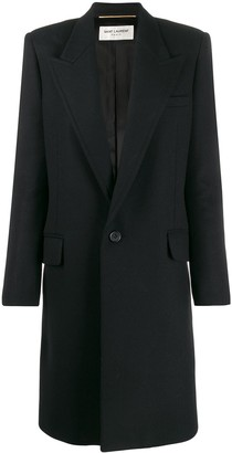 Saint Laurent Peaked Collar Single-Breasted Coat