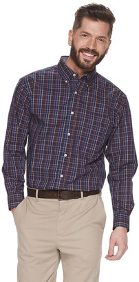 Haggar Men's Gingham Stretch Button-Down Shirt