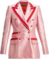 Dolce & Gabbana Contrast-trim double-breasted satin blazer