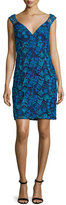 Aidan Mattox Sleeveless Floral Lace Cocktail Dress, Twilight/Multicolor