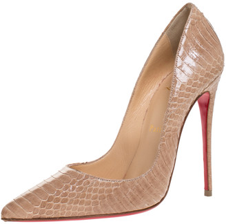 Christian Louboutin Beige Python Leather So Kate Pointed Toe Pumps Size 37