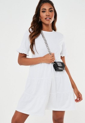 Missguided White Frill Sleeve Tiered Smock Dress