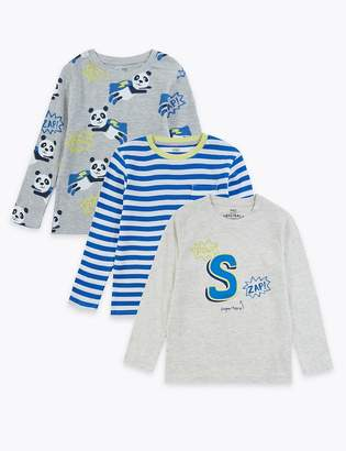 Marks and Spencer 3 Pack Cotton Rich Panda Design Tops (2-7 Years)