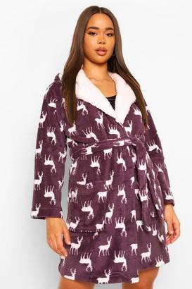 boohoo Deer Print Fleece Christmas Dressing Gown