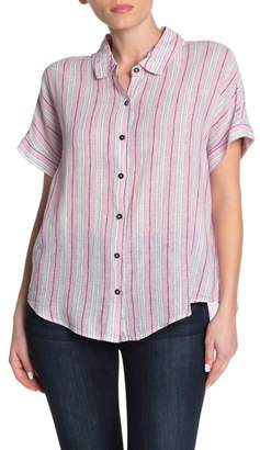 Splendid Canyon Short Sleeve Linen Blend Stripe Print Shirt