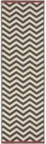 Diva At Home 2.25' x 11.75' Classic Chevrons Charcoal Gray and Cream White Shed-Free Area Throw Rug Runner